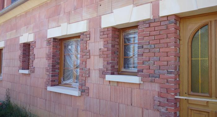réalisation d'une façade en briques